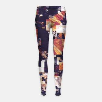 Thumbnail image of vintage psychedelic geometric square pixel pattern abstract in brown orange black Girl's leggings, Live Heroes