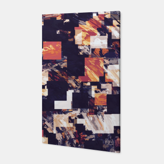 Thumbnail image of vintage psychedelic geometric square pixel pattern abstract in brown orange black Canvas, Live Heroes