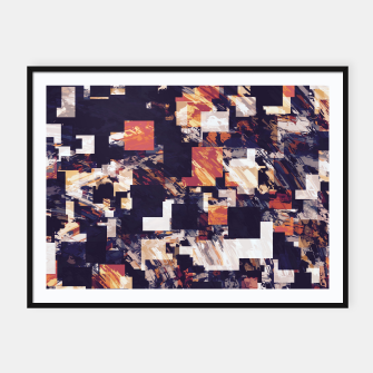 Thumbnail image of vintage psychedelic geometric square pixel pattern abstract in brown orange black Framed poster, Live Heroes