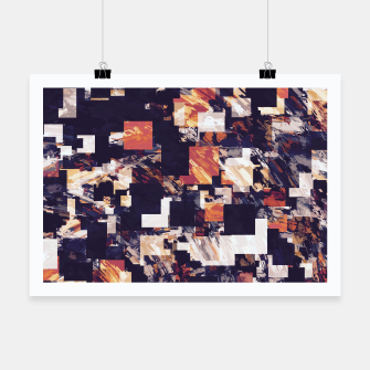 Thumbnail image of vintage psychedelic geometric square pixel pattern abstract in brown orange black Poster, Live Heroes