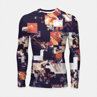 Thumbnail image of vintage psychedelic geometric square pixel pattern abstract in brown orange black Longsleeve rashguard , Live Heroes