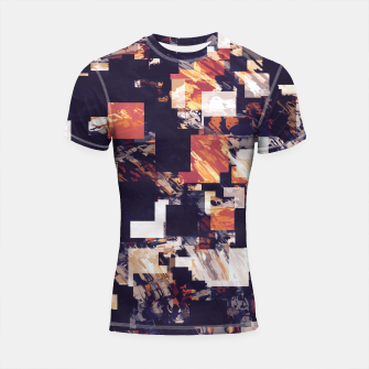 Thumbnail image of vintage psychedelic geometric square pixel pattern abstract in brown orange black Shortsleeve rashguard, Live Heroes