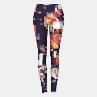 Thumbnail image of vintage psychedelic geometric square pixel pattern abstract in brown orange black Leggings, Live Heroes