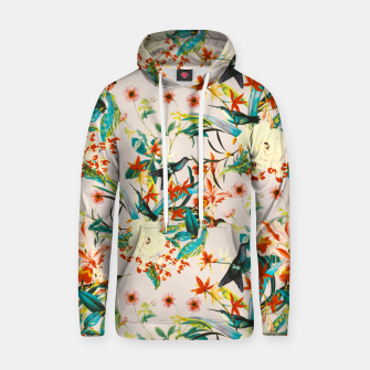 Thumbnail image of Hummingbirds in botanical flowering 01 Sudadera con capucha de algodón, Live Heroes
