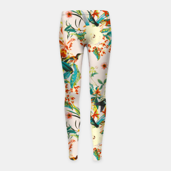 Thumbnail image of Hummingbirds in botanical flowering 01 Leggings para niña, Live Heroes