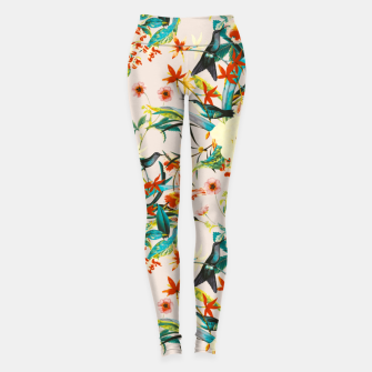 Miniatur Hummingbirds in botanical flowering 01 Leggings, Live Heroes