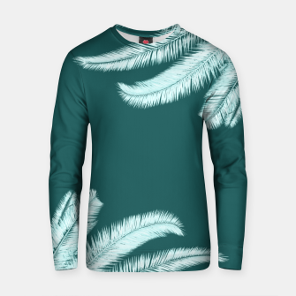 Thumbnail image of Palm leaves on teal Cotton sweater, Live Heroes