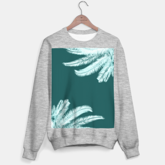 Thumbnail image of Palm leaves on teal Sweater regular, Live Heroes
