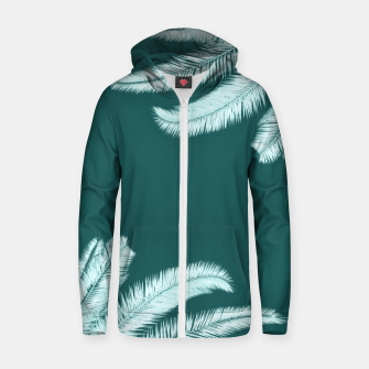 Thumbnail image of Palm leaves on teal Cotton zip up hoodie, Live Heroes
