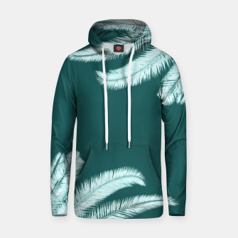 Thumbnail image of Palm leaves on teal Cotton hoodie, Live Heroes