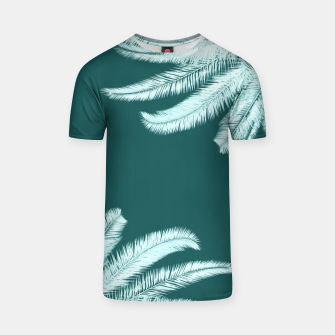 Thumbnail image of Palm leaves on teal T-shirt, Live Heroes