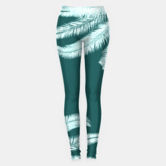 Thumbnail image of Palm leaves on teal Leggings, Live Heroes