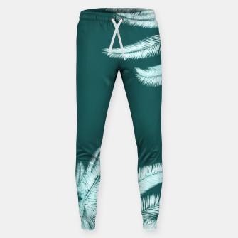 Thumbnail image of Palm leaves on teal Cotton sweatpants, Live Heroes