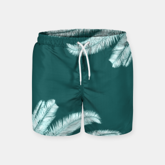 Thumbnail image of Palm leaves on teal Swim Shorts, Live Heroes