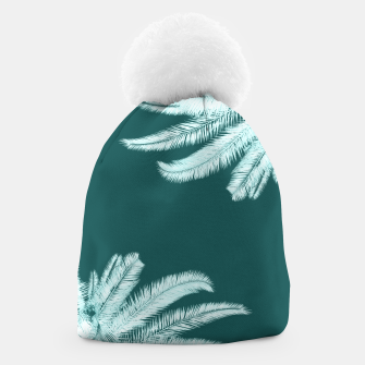 Thumbnail image of Palm leaves on teal Beanie, Live Heroes