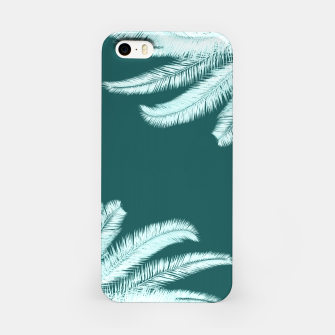 Thumbnail image of Palm leaves on teal iPhone Case, Live Heroes