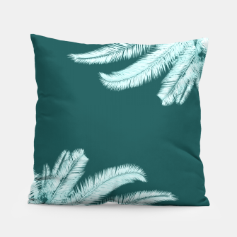 Thumbnail image of Palm leaves on teal Pillow, Live Heroes