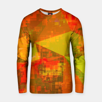 Thumbnail image of psychedelic geometric triangle pattern abstract with painting abstract background in green brown orange Cotton sweater, Live Heroes
