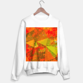 Thumbnail image of psychedelic geometric triangle pattern abstract with painting abstract background in green brown orange Sweater regular, Live Heroes