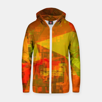 Thumbnail image of psychedelic geometric triangle pattern abstract with painting abstract background in green brown orange Cotton zip up hoodie, Live Heroes