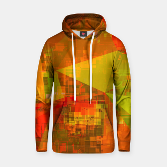 Thumbnail image of psychedelic geometric triangle pattern abstract with painting abstract background in green brown orange Cotton hoodie, Live Heroes
