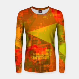 Thumbnail image of psychedelic geometric triangle pattern abstract with painting abstract background in green brown orange Woman cotton sweater, Live Heroes