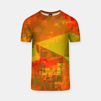 Thumbnail image of psychedelic geometric triangle pattern abstract with painting abstract background in green brown orange T-shirt, Live Heroes