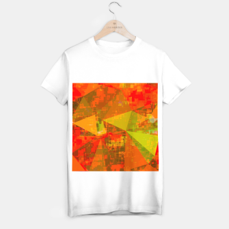 Thumbnail image of psychedelic geometric triangle pattern abstract with painting abstract background in green brown orange T-shirt regular, Live Heroes