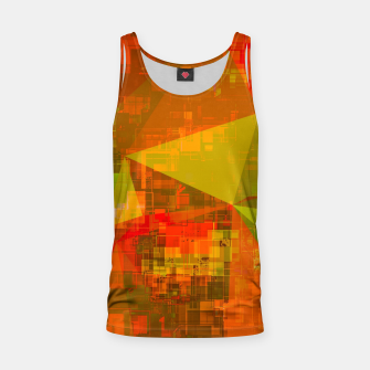 Thumbnail image of psychedelic geometric triangle pattern abstract with painting abstract background in green brown orange Tank Top, Live Heroes
