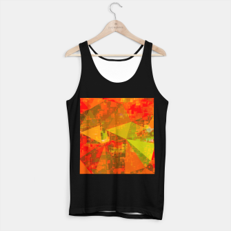 Thumbnail image of psychedelic geometric triangle pattern abstract with painting abstract background in green brown orange Tank Top regular, Live Heroes