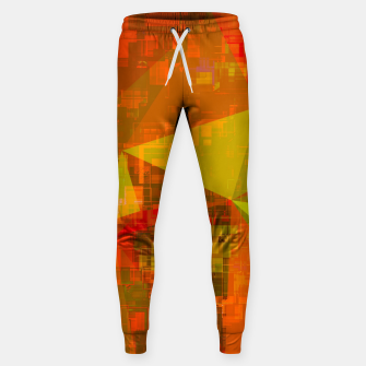 Thumbnail image of psychedelic geometric triangle pattern abstract with painting abstract background in green brown orange Cotton sweatpants, Live Heroes