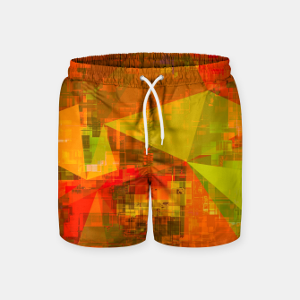 Thumbnail image of psychedelic geometric triangle pattern abstract with painting abstract background in green brown orange Swim Shorts, Live Heroes