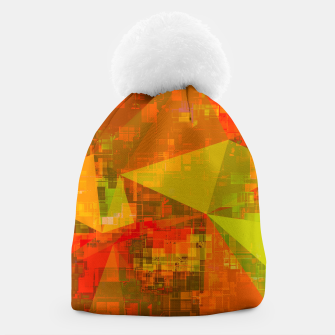 Thumbnail image of psychedelic geometric triangle pattern abstract with painting abstract background in green brown orange Beanie, Live Heroes