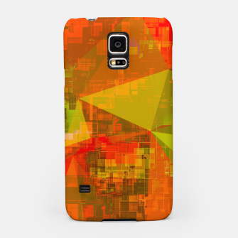 Thumbnail image of psychedelic geometric triangle pattern abstract with painting abstract background in green brown orange Samsung Case, Live Heroes