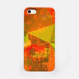 Thumbnail image of psychedelic geometric triangle pattern abstract with painting abstract background in green brown orange iPhone Case, Live Heroes