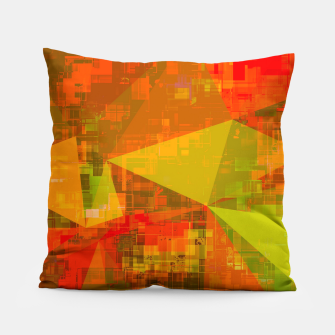 Thumbnail image of psychedelic geometric triangle pattern abstract with painting abstract background in green brown orange Pillow, Live Heroes