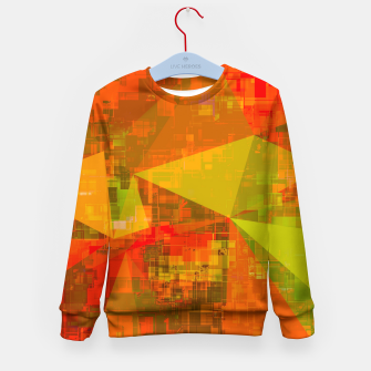 Thumbnail image of psychedelic geometric triangle pattern abstract with painting abstract background in green brown orange Kid's sweater, Live Heroes