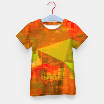 Thumbnail image of psychedelic geometric triangle pattern abstract with painting abstract background in green brown orange Kid's t-shirt, Live Heroes