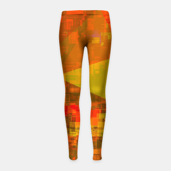 Thumbnail image of psychedelic geometric triangle pattern abstract with painting abstract background in green brown orange Girl's leggings, Live Heroes