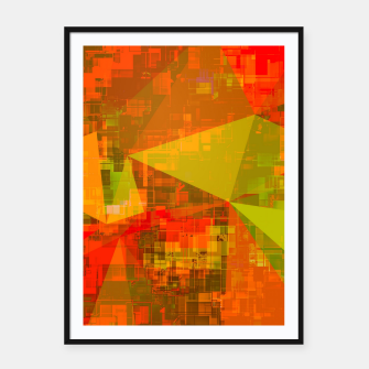 Thumbnail image of psychedelic geometric triangle pattern abstract with painting abstract background in green brown orange Framed poster, Live Heroes