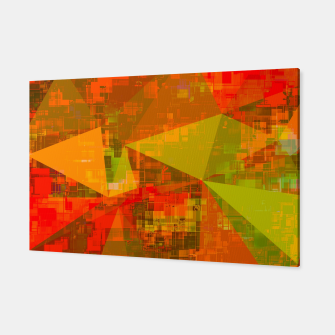 Thumbnail image of psychedelic geometric triangle pattern abstract with painting abstract background in green brown orange Canvas, Live Heroes