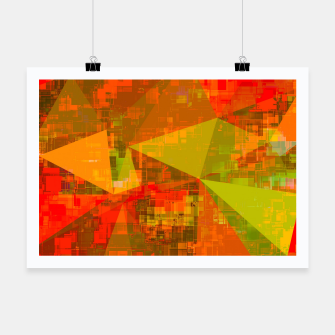 Thumbnail image of psychedelic geometric triangle pattern abstract with painting abstract background in green brown orange Poster, Live Heroes