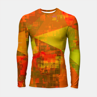 Thumbnail image of psychedelic geometric triangle pattern abstract with painting abstract background in green brown orange Longsleeve rashguard , Live Heroes