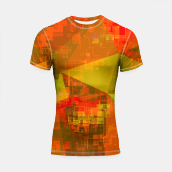 Thumbnail image of psychedelic geometric triangle pattern abstract with painting abstract background in green brown orange Shortsleeve rashguard, Live Heroes