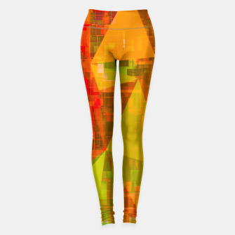 Thumbnail image of psychedelic geometric triangle pattern abstract with painting abstract background in green brown orange Leggings, Live Heroes