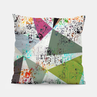 Miniaturka psychedelic geometric triangle pattern abstract with painting abstract background Pillow, Live Heroes