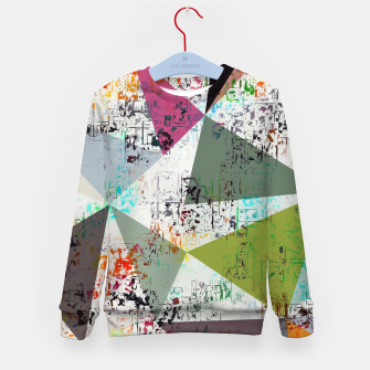 Miniaturka psychedelic geometric triangle pattern abstract with painting abstract background Kid's sweater, Live Heroes