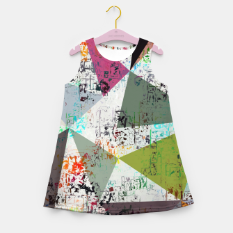 Miniaturka psychedelic geometric triangle pattern abstract with painting abstract background Girl's summer dress, Live Heroes