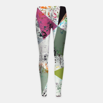 Miniaturka psychedelic geometric triangle pattern abstract with painting abstract background Girl's leggings, Live Heroes