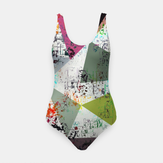 Miniaturka psychedelic geometric triangle pattern abstract with painting abstract background Swimsuit, Live Heroes